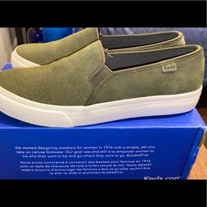 Keds slip on suede green shoes